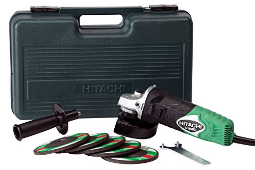 "Hitachi G12SR3 4-1/2"" 6-Amp Angle Grinder with 5 Abrasive Wheels"